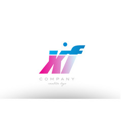 xf x f alphabet letter combination pink blue bold vector image vector image