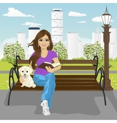 Young happy woman enjoying freetime in city park vector image