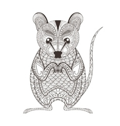 Zentangle brown Possum totem for adult anti vector image