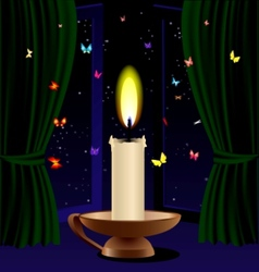 candle and butterfly vector image vector image