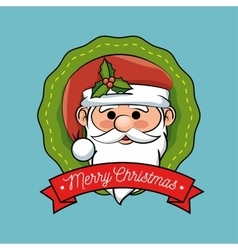 christmas label santa claus design vector image