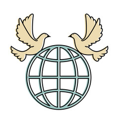 doves of peace with planet vector image vector image