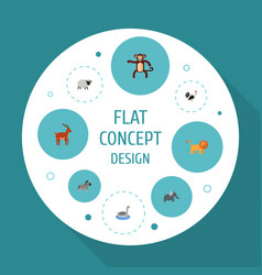 flat icons waterbird moose horse and other vector image vector image