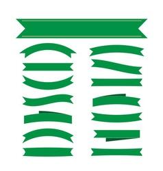 Green ribbon banners set decoration vector image vector image
