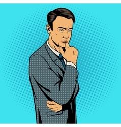 Man thinking hard pop art style vector image vector image