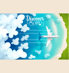passenger plane flying above clouds and tropical vector image vector image
