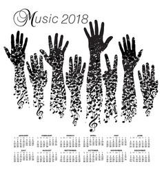 a creative 2018 musical calendar vector image vector image