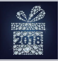 gift present with 2018 made up a lot of diamonds vector image