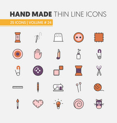 hand made sewing linear thin line icons set vector image vector image