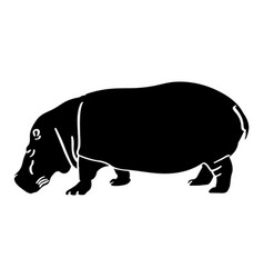 Isolated hippo silhouette vector