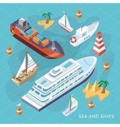 Isometric Set Ships Sea Transport vector image