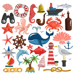 nautical elements and sea life set vector image vector image