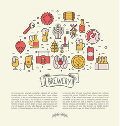 thin line banner concept for beer brewery vector image vector image