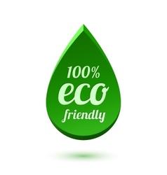 Abstract green drop eco friendly icon vector image