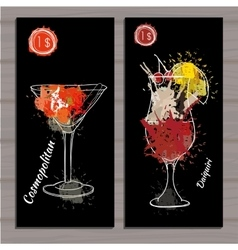 Cocktail set with price on chalk board Template vector image vector image