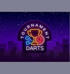 darts tournament neon sign vector image