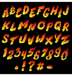 Fire font vector image vector image