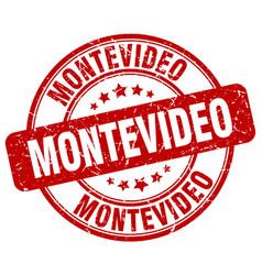 Montevideo red grunge round vintage rubber stamp vector