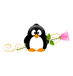 Penguin with rose vector image vector image
