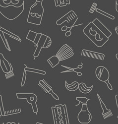 Seamless pattern with tools for barber shop vector