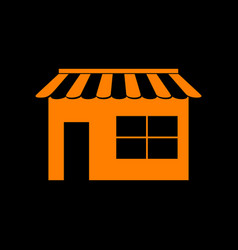 store sign orange icon on black vector image