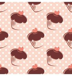Tile pattern polka dots and cupcake vector image vector image