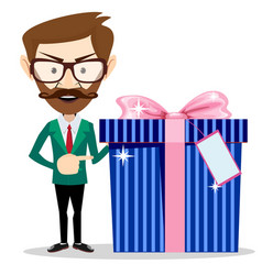 businessman holding a gift vector image vector image
