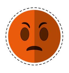 cartoon angry emoticon funny icon vector image