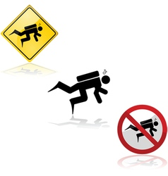 Diving signs vector image vector image
