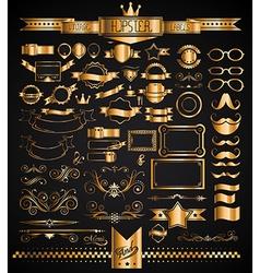 Mega Set of Vintage Golden Labels for your Hipster vector image vector image