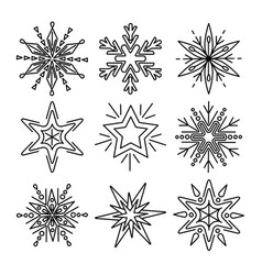 Set of snowflakes in thin line style vector