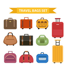 travel bags icon set flat style isolated on a vector image vector image