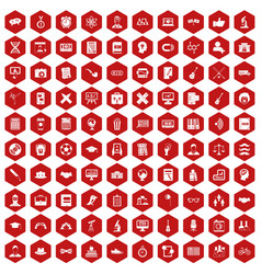 100 student icons hexagon red vector