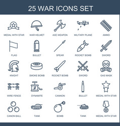 25 war icons vector