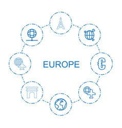 8 europe icons vector