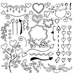 a black-and-white set of hand-drawn elements vector image