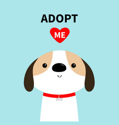 Adopt me dog face head red collar white puppy vector