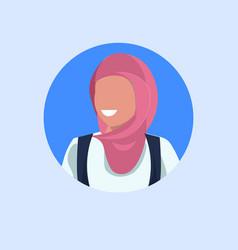 Arab woman face avatar happy arabic girl wearing vector