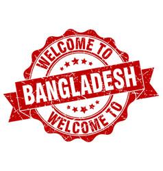 bangladesh round ribbon seal vector image