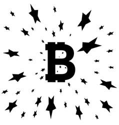 bitcoin coin with stars abstract falling bitcoin vector image