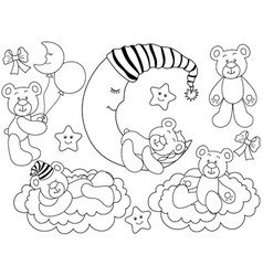 black and white babears set vector image