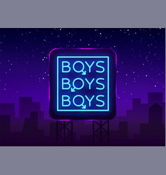 boys neon sign lgbt gay show night sign for gay vector image