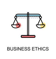 Business ethics icon with scales symbol on white vector