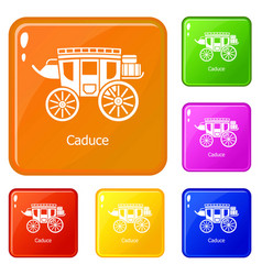 carriage icons set color vector image