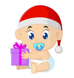cartoon bain christmas with santa hat vector image