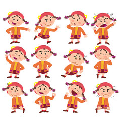 cartoon character girl set vector image