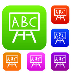 chalkboard with the leters abc set collection vector image
