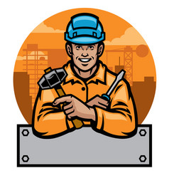 construction worker with blank text space vector image
