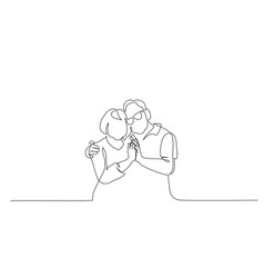 Continuous one line drawing romantic elderly vector