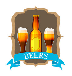 craft beer label and neck label on brown bottle vector image
